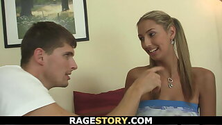 Ponytailed girl takes his huge angry dick hard and rough