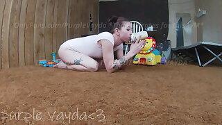 Purple Vayda - ABDL Vayda plays around and wets her diaper
