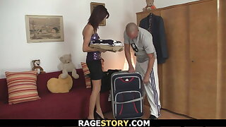 Guy punishes his brunnete wife hard and rough