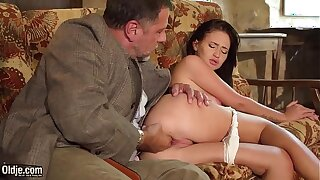 Teen brunette hard sex with horny grandpa on the couch