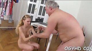 Old nasty guy fucks young hole