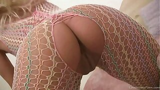 Teen babe in fishnet bodystockings masturbating on camera (2)